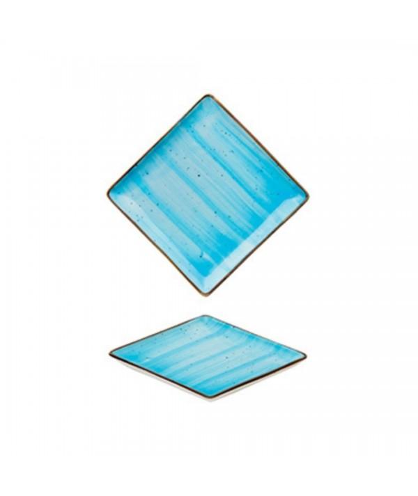 Piattino quadrato per salse o aperitivi azzurro set 6 pezzi -